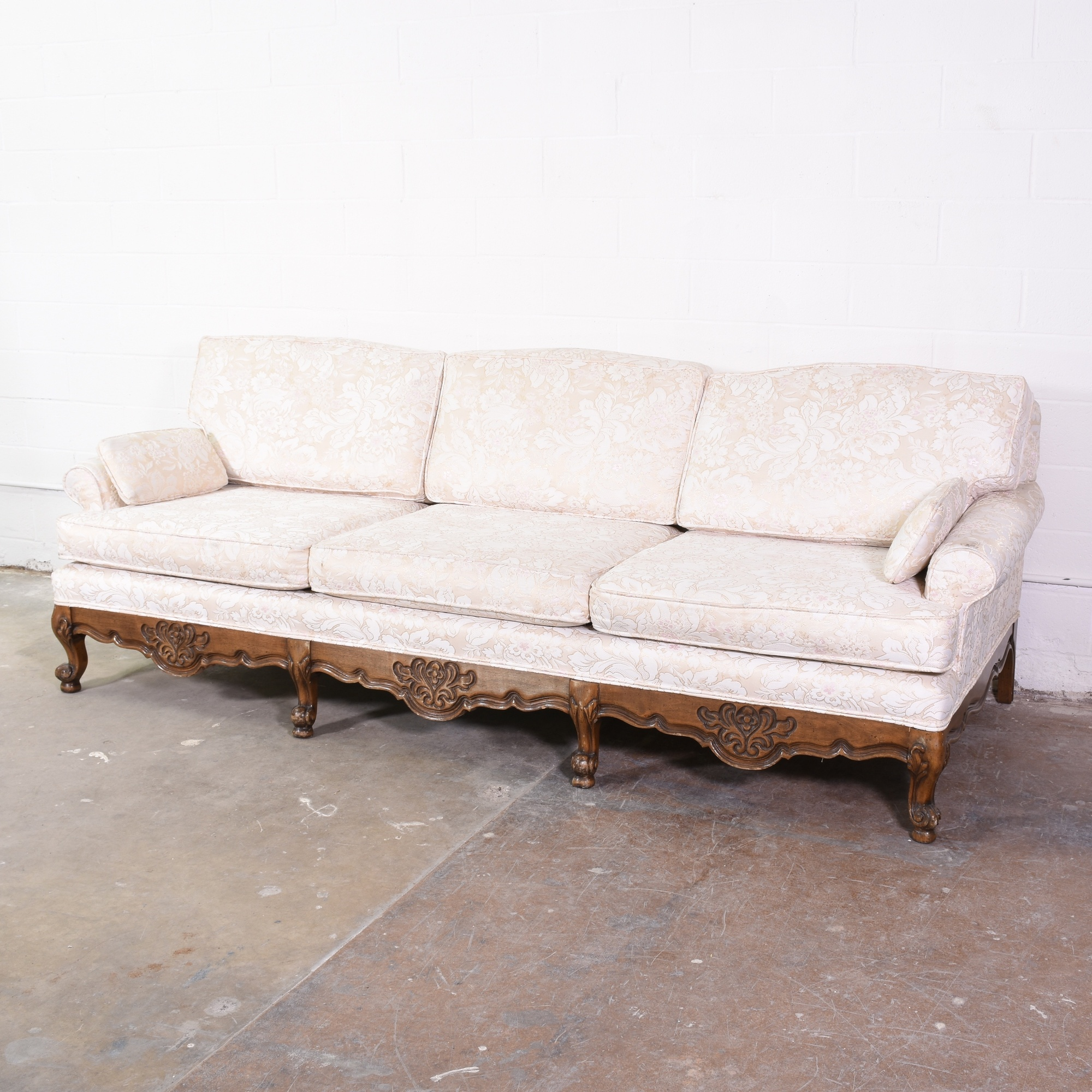 White Floral Sofa W/ Wood Carved Trim