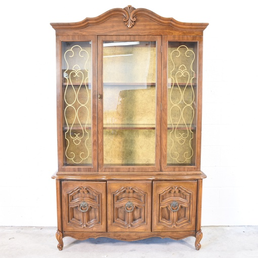 Solid Wood 3 Door China Cabinet Loveseat Vintage