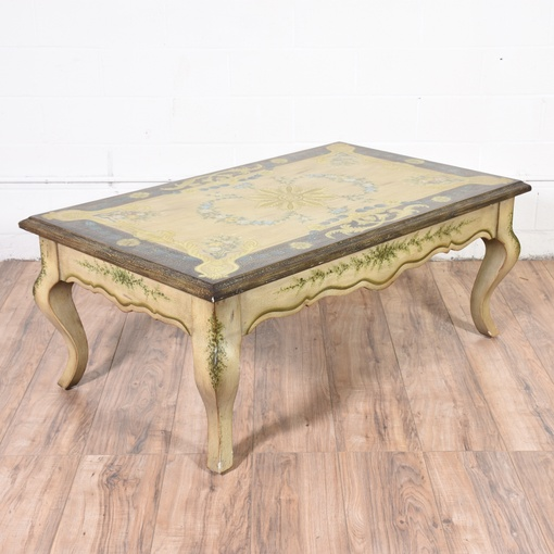 French Provincial Coffee Table Set: French Provincial Painted Coffee Table