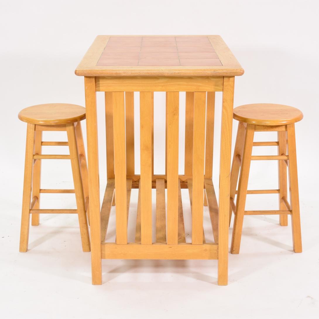 Tile top kitchen table w 2 stools loveseat vintage for W kitchen table taipei