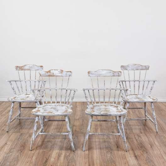 "Set of 4 ""Nichols & Stone"" Shabby Windsor Chairs"