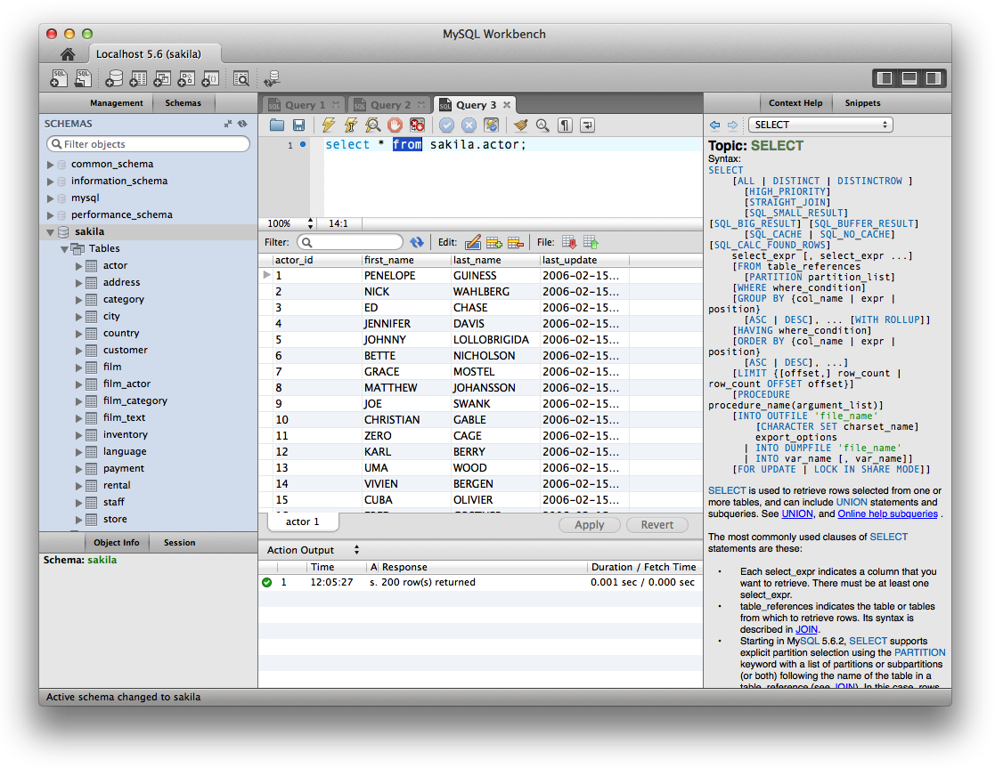 SQL Workbench showing database tables