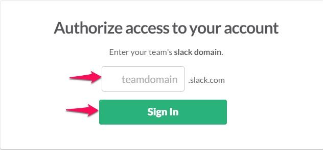 Slack Team Domain