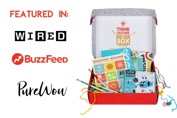 An open red subscription box that says Think Outside the Box, with books and toys. Featured in Wired BuzzFeed PureWow.