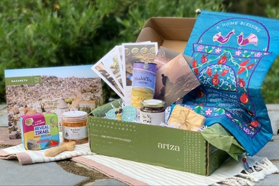 An Artza subscription box filled with artisanal food, crafts, and content from across the Holy Land.
