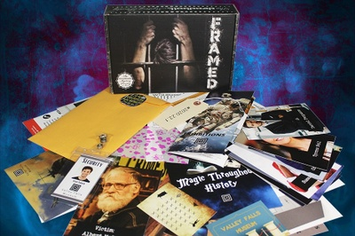 A Deadbolt Mystery Society subscription box with a stand-alone mystery with clues, guides and pictures.