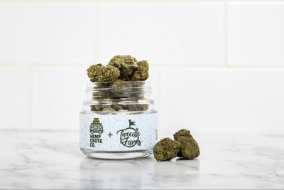 A jar full of weed buds from the Hemp Crate Co. subscription box.