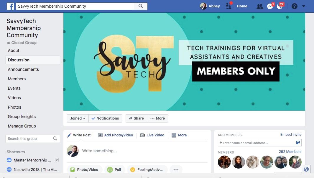 A look inside of my membership site Facebook group.