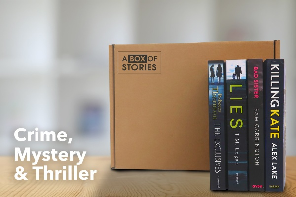 A crime, thriller and mystery book subscription box with books titled Killing Kate, Bad Sister, Lies, and The Exclusives.