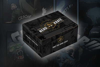 A closed Nerd Krate subscription box with comic book panels on it.