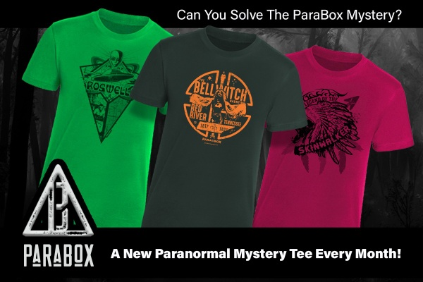 An ad for the ParaBox subscription box showing 3 shirts and the words Can you solve the ParaBox mystery?