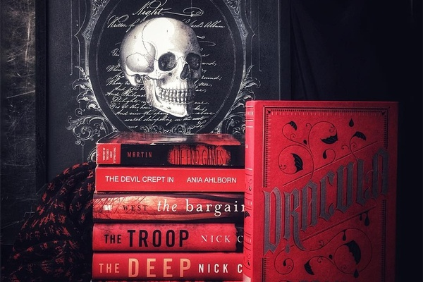 The Portable Magic Book subscription box with a framed picture of a skull and red books titled Dracula, The Deep and more.