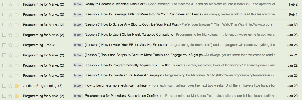 Programming for Marketers Email Course