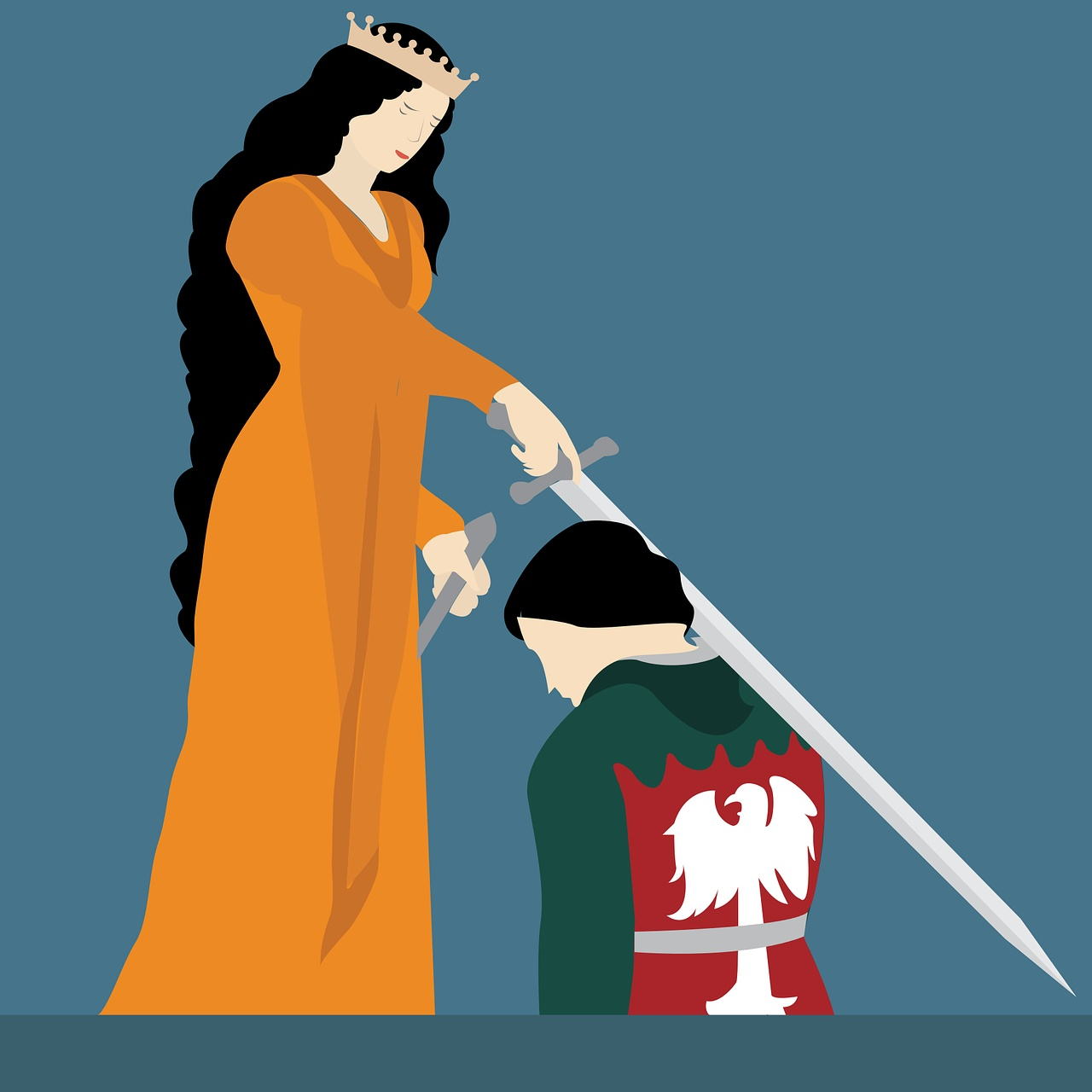 Queen and knight