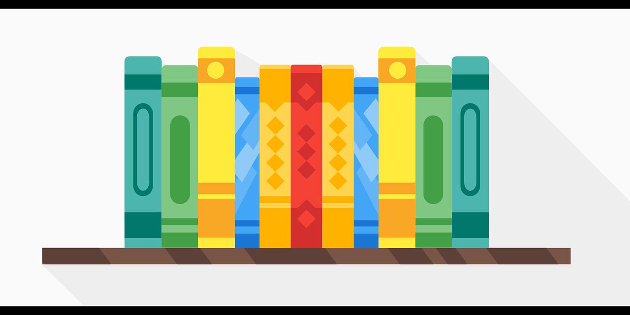 Colorful books on a shelf