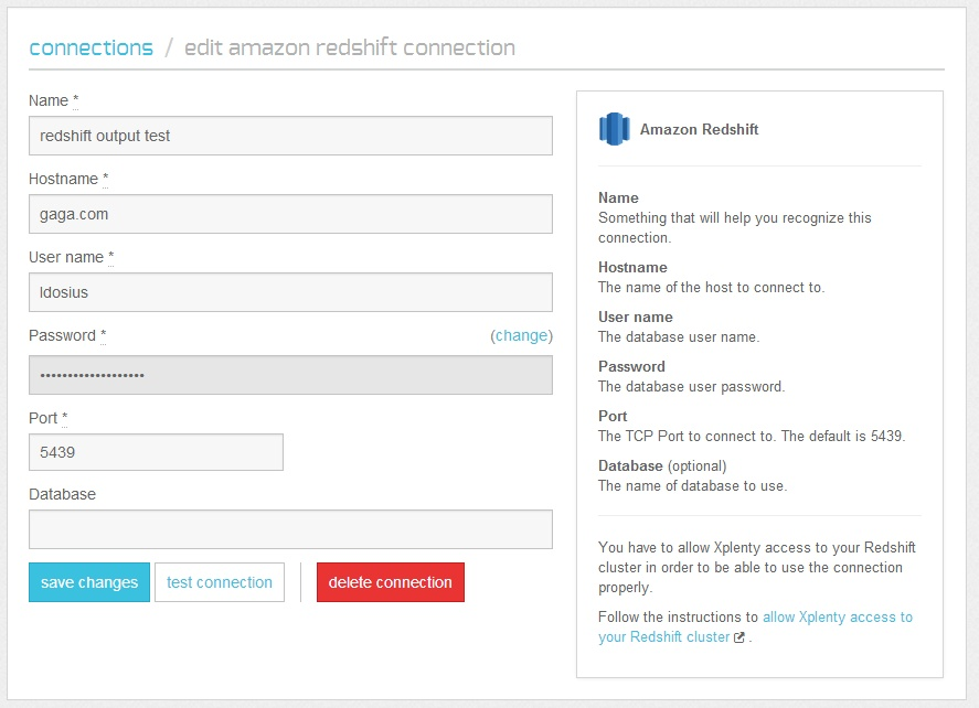 amazon redshift connection