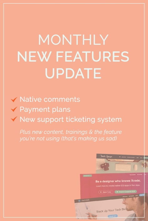 This month's product updates to help you create and sell an online course with Teachable: pricing plans, native comments, support ticketing system, new content, and free trainings. Click to read all the deets!