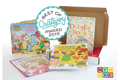 4 children's books are displayed with a circular badge overlaid that says Best of Cratejoy Award 2019.