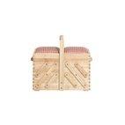 Nähkasten aus hellem Holz, mit Stoff
