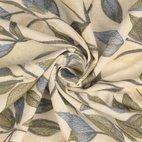 Leinen-Viskose Mix Stickerei Blätter - sand/ grün/ blau