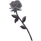 Applikation Rose mit Stiel schwarz