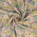 Leinen-Viskose-Mix Blumen - grün/ rosa