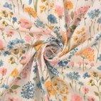 Leinen-Viskose-Mix Blumen - natur/ rosa/ gelb