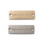 """Pins """"handmade"""" zum Annähen silber & gold"""