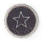 Applikation Jeanslabel, schwarz, rund, Stern