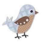 Applikation Exklusiv Vogel, beige/bleu