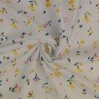 Leinen-Viskose-Mix kleine Blumen - gelb