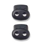 Kordelstopper, klein, 2-Loch, schwarz