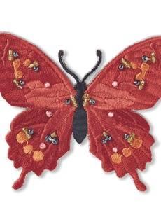 Applikation Exklusiv Schmetterling,  rot, mit Perlen