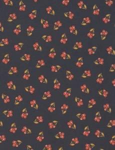 GOTS Baumwollstoff Popeline Flower, schwarz