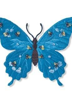 Applikation Exklusiv Schmetterling, türkis, mit Perlen