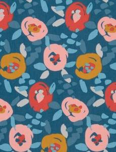 Sweatstoff French Terry Painted Flowers, rosa