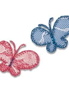 Applikation Schmetterlinge, pink/blau