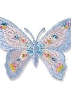 Applikation Exklusiv Schmetterling,  blau pastell mit Perlen