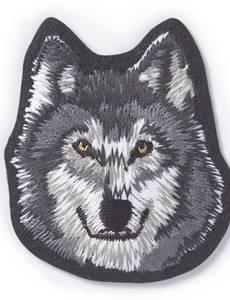 Applikation Wolfgesicht, grau/weiß