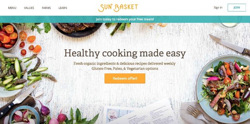 Sunbasket landing page