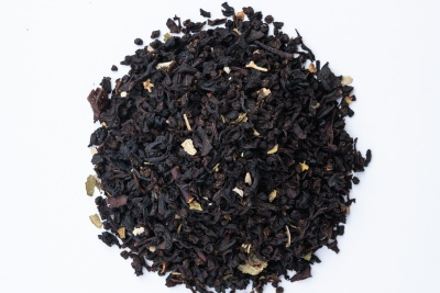 A small pile of dried tea leaves that come in a Free Your Tea subscription box.