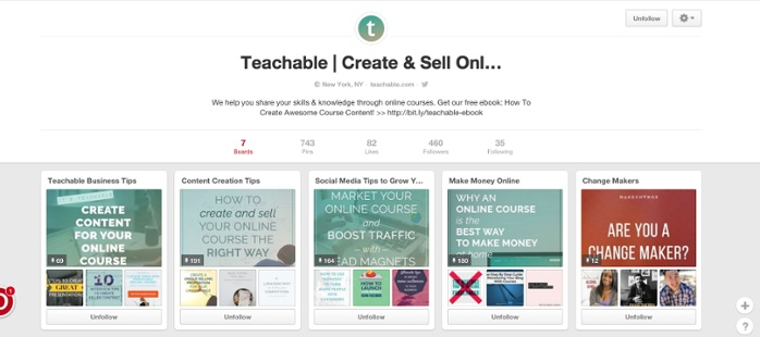 Teachable Pinterest page