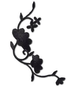 Applikation Blumenranke schwarz