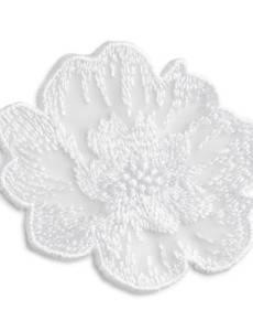 Applikation Blume klein, festlich, Stickerei weiß