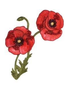 Applikation Blumenranke Mohnblumen