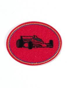 Applikation Patch oval, Rennwagen, rot