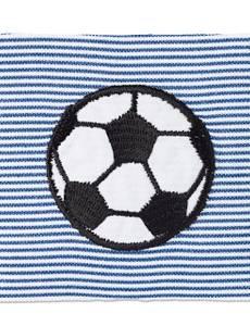 Applikation Fußball, auf blauem/weißem Stoff