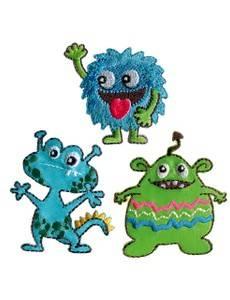 Applikation selbstklebend/aufbügelbar Monster blau/grün