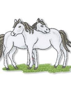 Applikation Pferde, weiß
