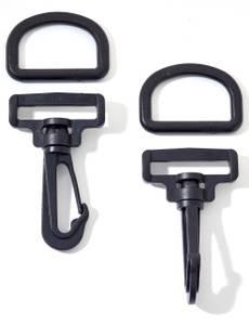 Karabinerhaken-Set 30mm, schwarz